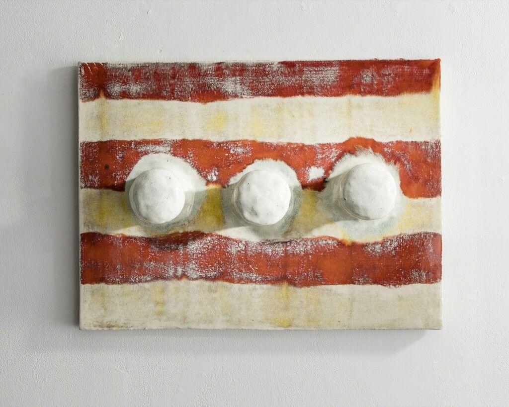 Glazed Ceramic Tile with Three Hooks