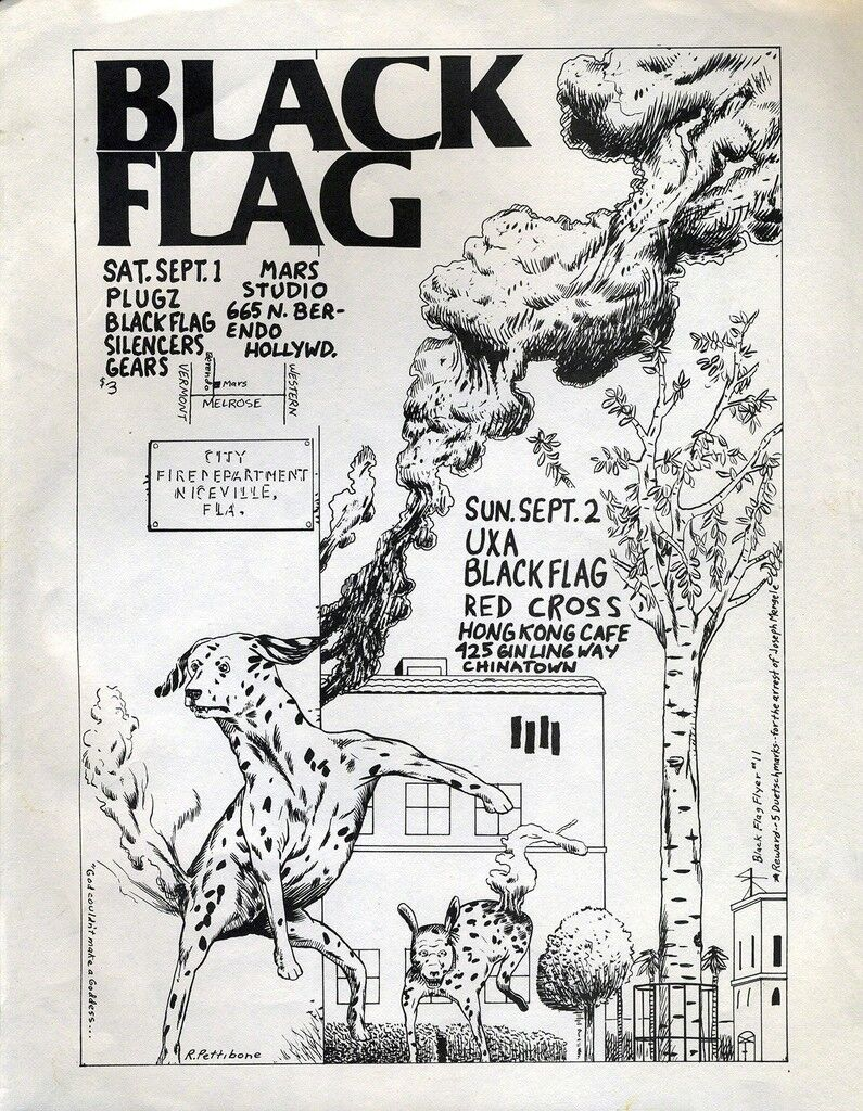 Raymond Pettibon 1979 Illustrated Punk Flyer (Black Flag)
