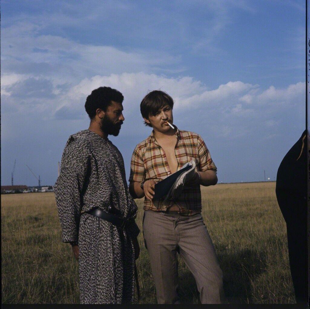 "Rainer Werner Fassbinder and El Hedi Ben Salem on the set of ""The Merchant of Four Seasons"""