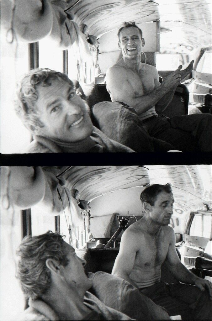 Timothy Leary visiting Neal Cassady who drove Prankster Bus to Millbrook
