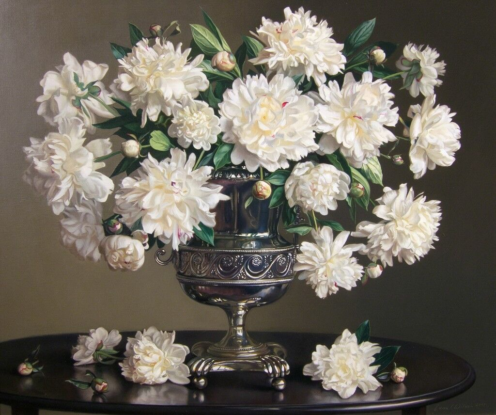 Peonies in a Silver Urn