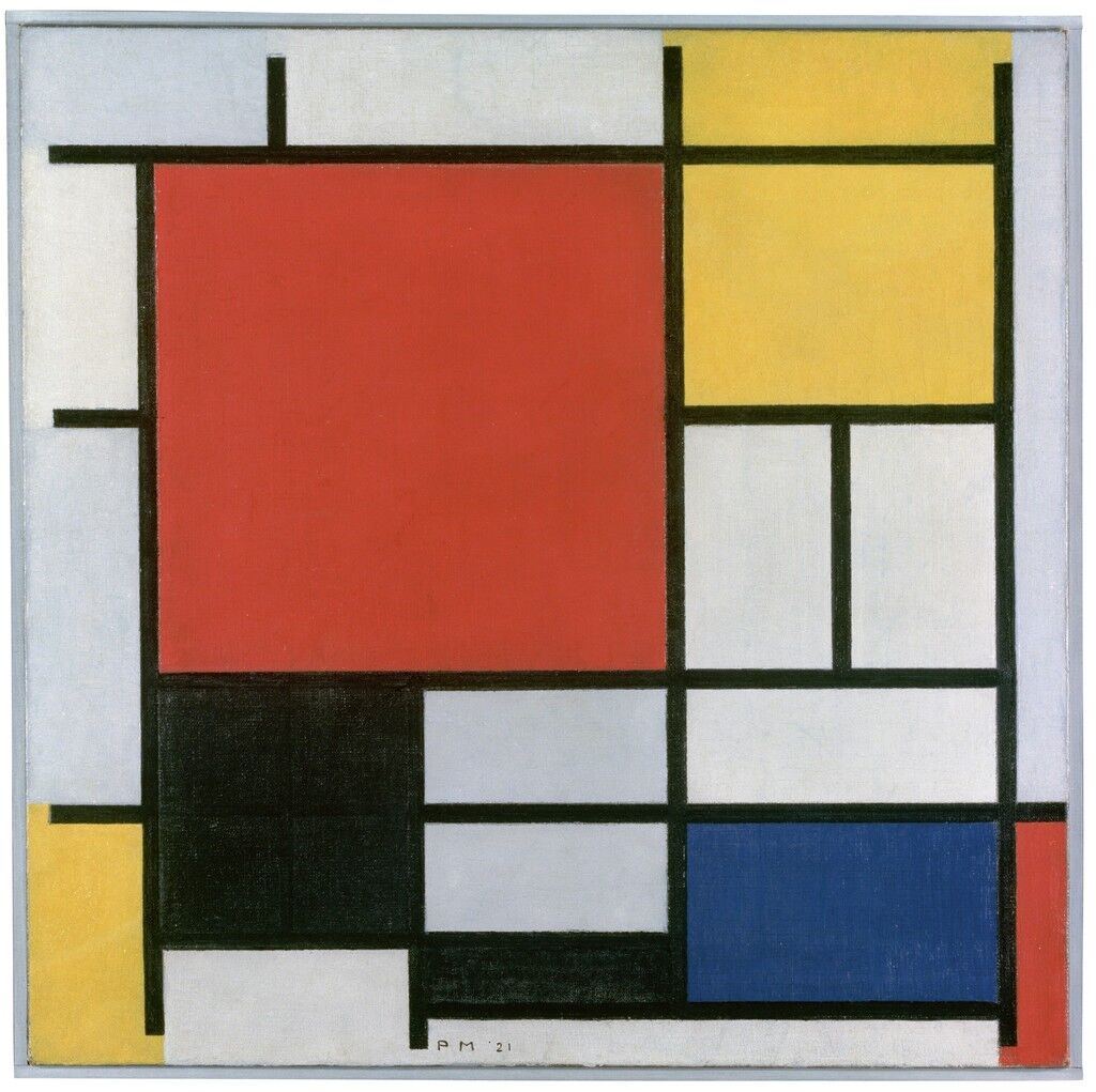 Composition with Large Red Plane, Yellow, Black, Grey and Blue