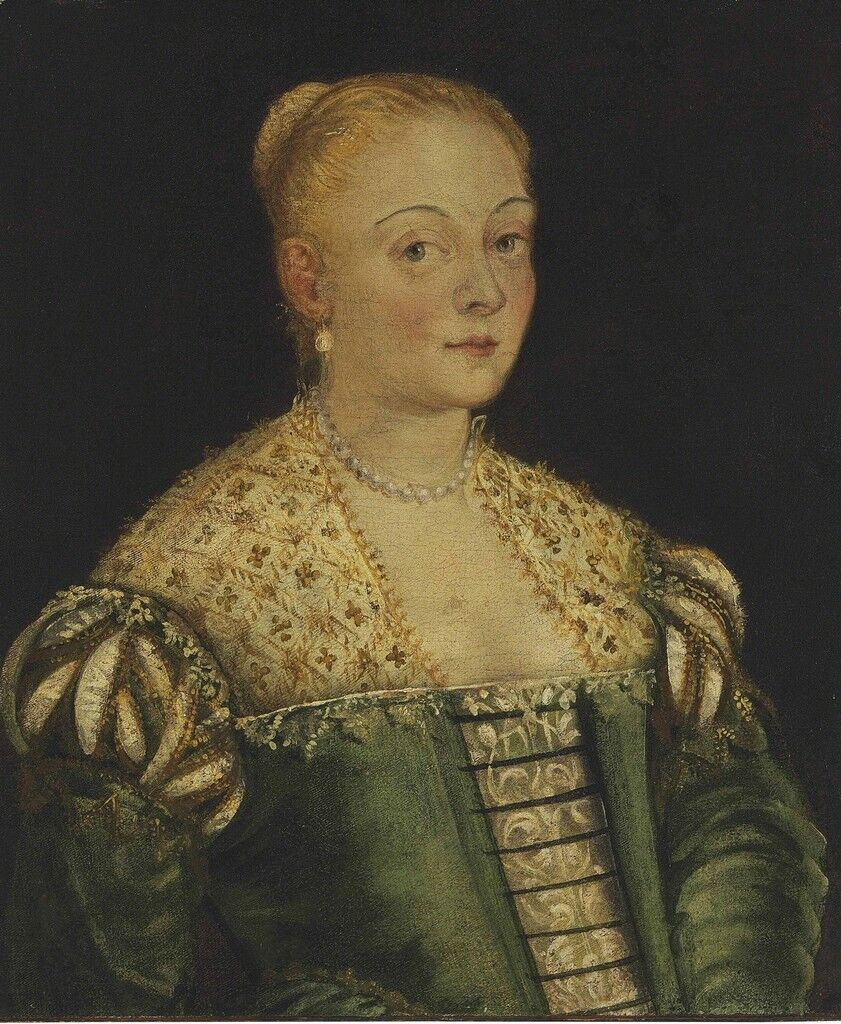 Portrait of a young lady, half-length, in a green dress