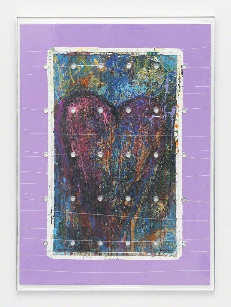 """Bam Margera 'HELSINKI HEART', 2014 (Acrylic on canvas 30 x 50"""") + (30) LEALANA 1LTC Brass Litecoin"""