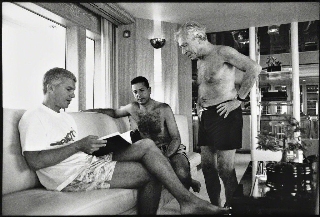 Larry Gagosian, Charles Saatchi and Leo Castelli, St. Barthelemy, 1991