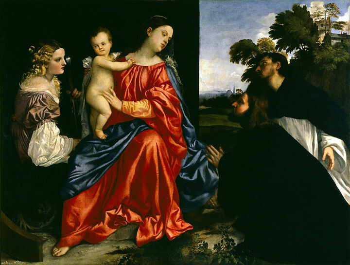 Madonna and Child with Saints Catherine of Alexandria and Dominic, and a Donor