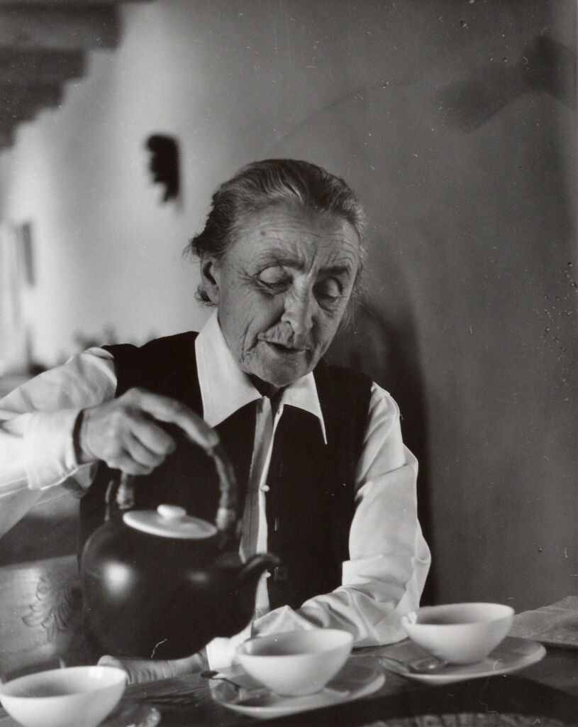 Georgia O'Keeffe Pouring Tea at the Ghost Ranch