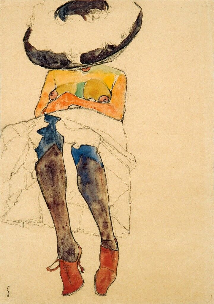 Seated Semi-Nude with Hat and Purple Stockings (Gerti)