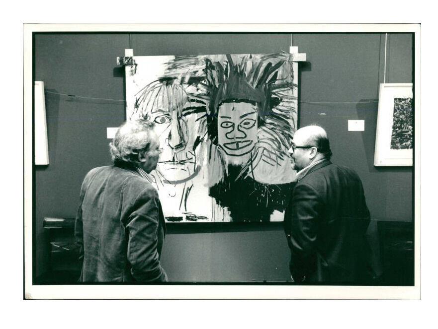 "Jean Michel Basquiat's ""DOS CABEZAS"" (1982), Original Press Photo. 1988, Sotheby's New York"