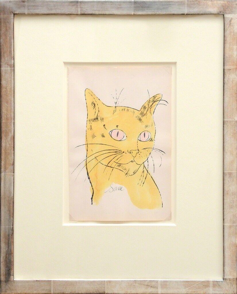 Sam [Retrato de gato amarillo con ojos rosados]