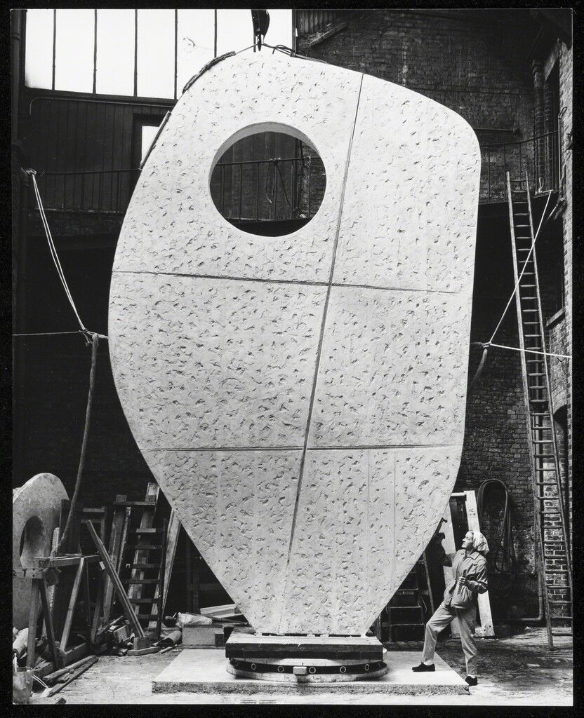 Barbara Hepworth with the plaster of Single Form 1961-4 at the Morris Singer foundry, London, May