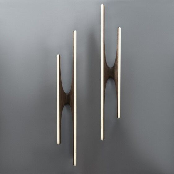 Pair of Walnut and Onyx Sculptural Sconces, USA