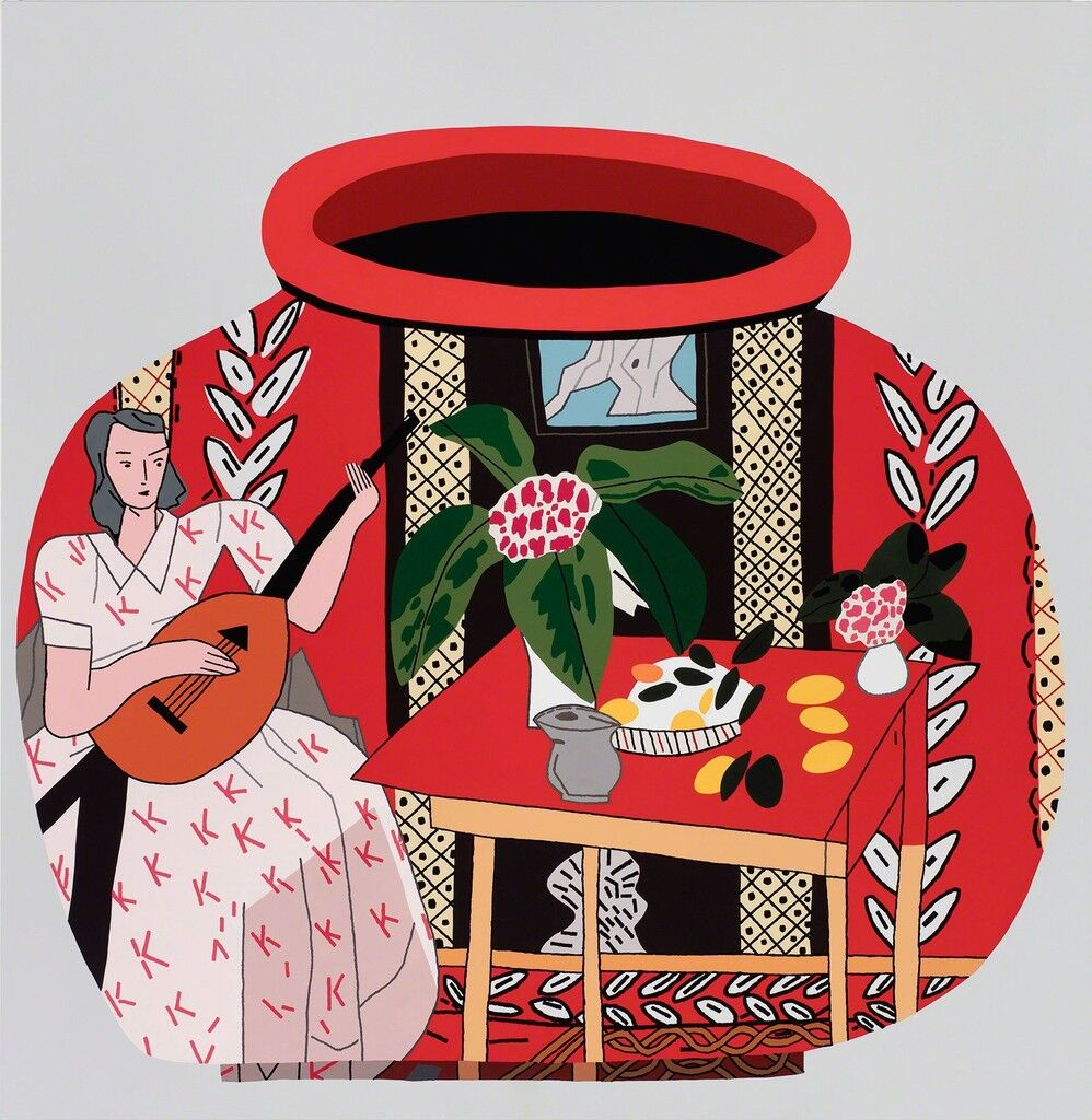 Red Pot with Lute Player #2