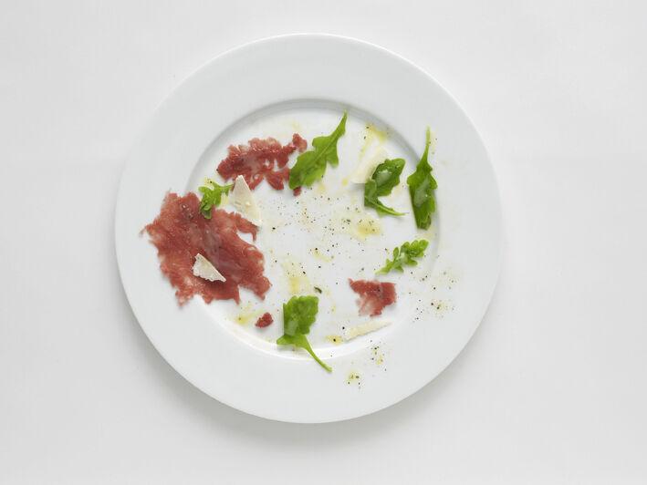 Negative Plate (Beef carpaccio with rucola and parmigiano)