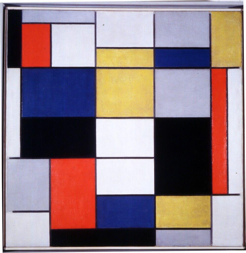 Grande composizione A con nero, rosso, grigio, giallo e blu