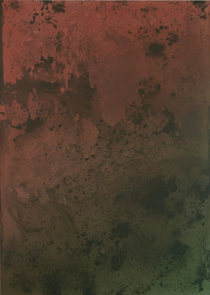 Untitled Painting in Red Over Green