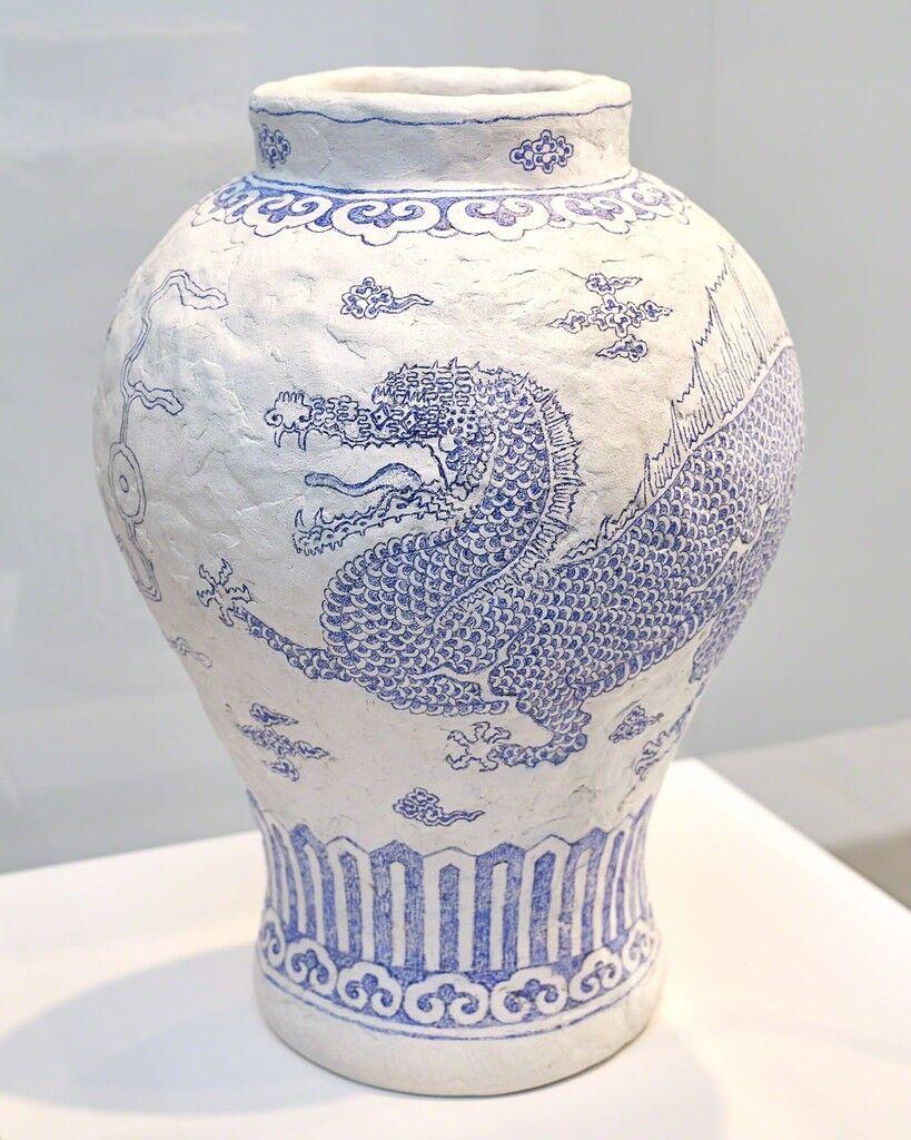 Jar White Porcelain with Spinosaurus Design in Undergalze Colbat-blue#2