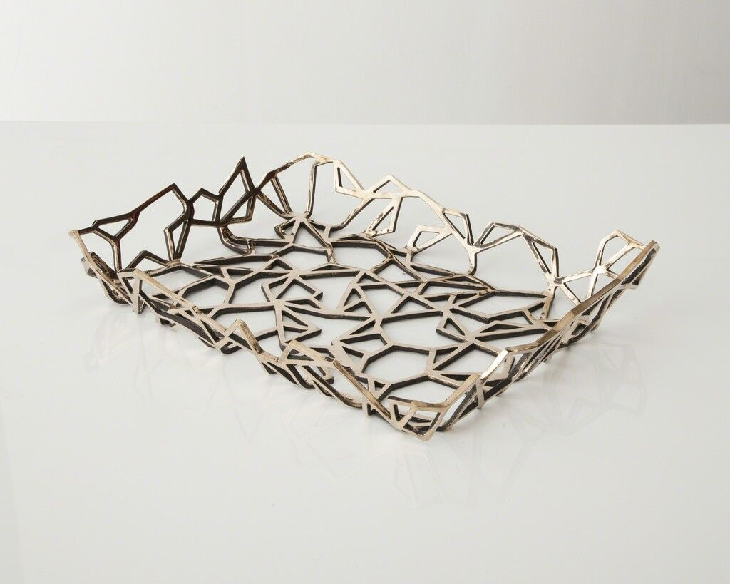 Unique Triangle Tracery tray in polished bronze