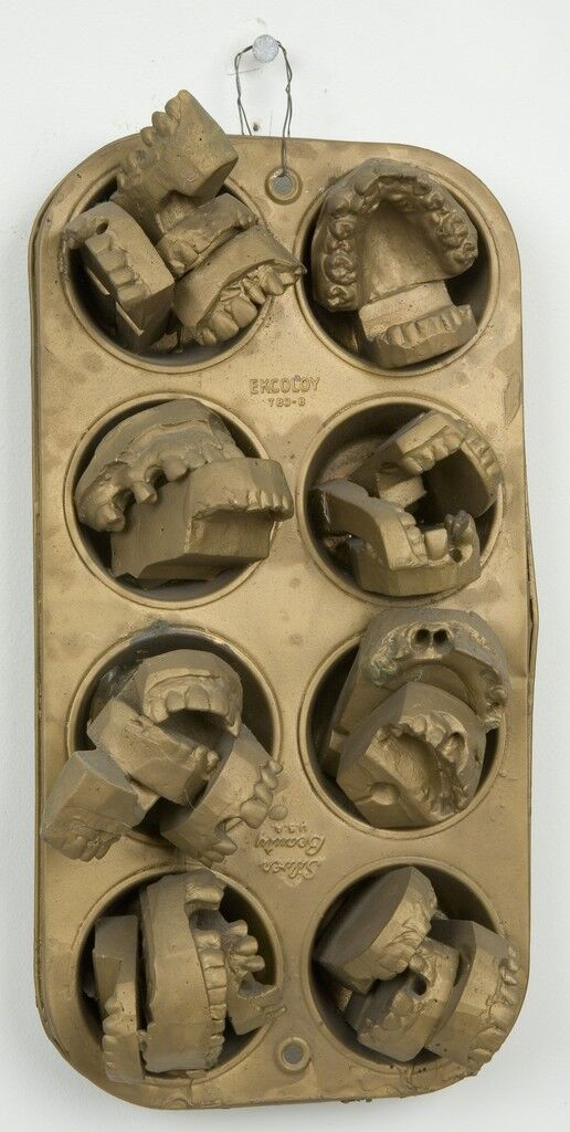 Untitled (bronze muffin pan with dental molds)