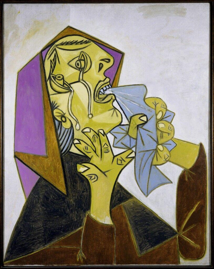 Cabeza de mujer llorando con pañuelo (III). (Weeping Woman's Head with Handkerchief [III].)