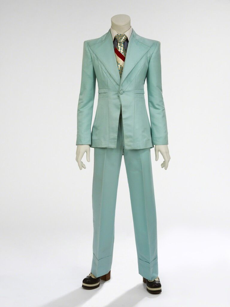 Ice-blue suit. Designed by Freddie Burretti for the 'Life on Mars?' video
