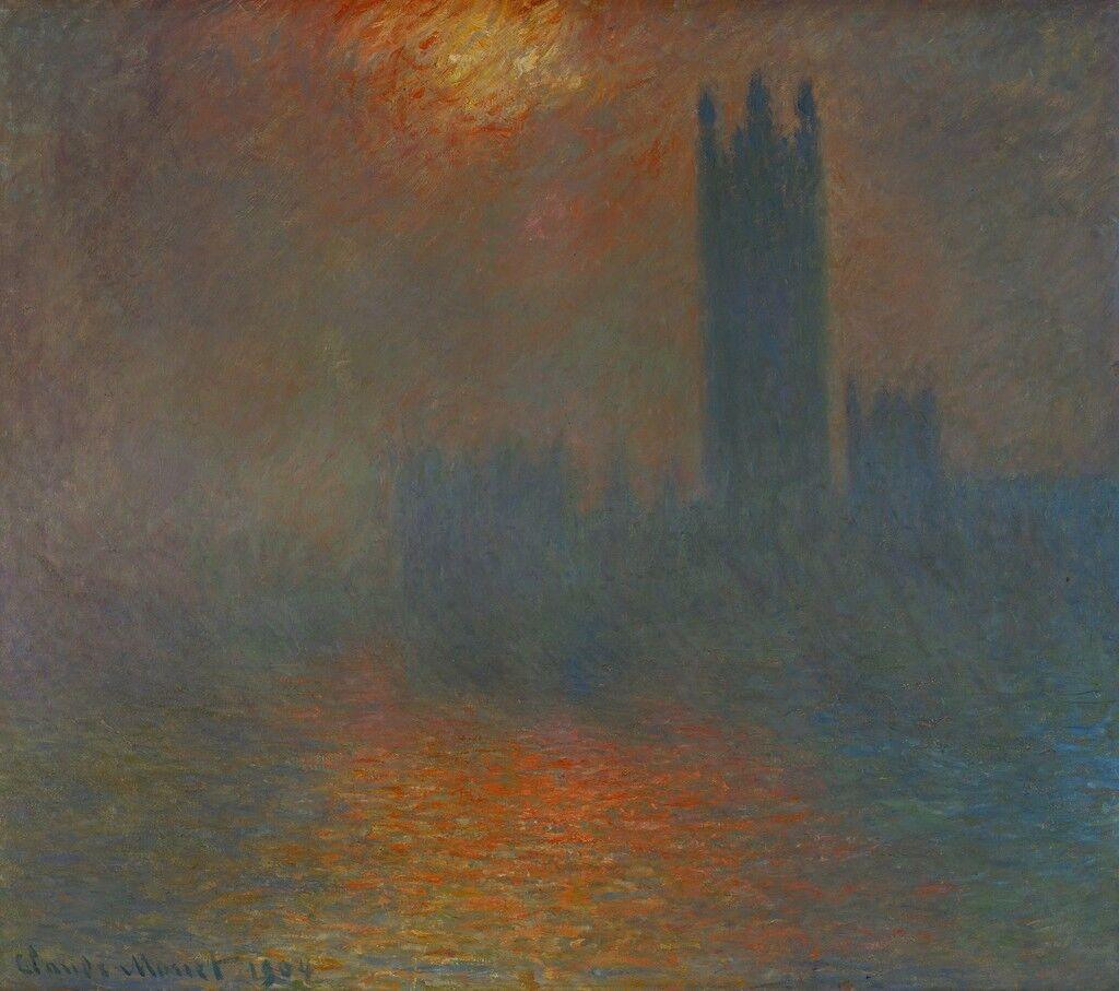 Londres, le Parlement, trouée de soleil (London, Parliament, sun breaking through the clouds)