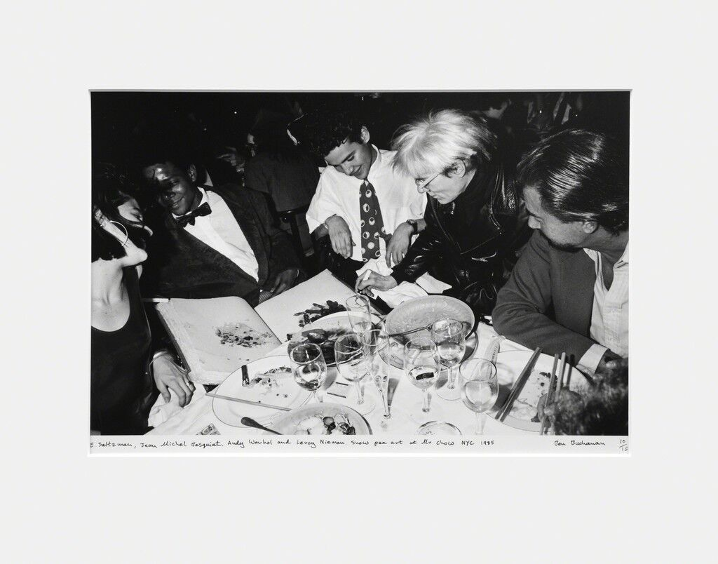 E. Saltzman, Jean Michel Basquiat, Andy Warhol and Leroy Nieman, Snow Pea Art at Mr. Chow, NYC, 1985