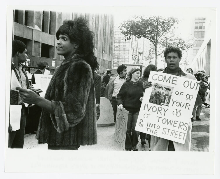 Untitled (Marsha P. Johnson Hands Out Flyers For Support of Gay Students at N.Y.U.)