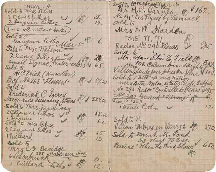 Walter Pach notebook recording sales at the New York Armory Show 1913, Feb. 18-Mar.15, from the Walter Pach papers