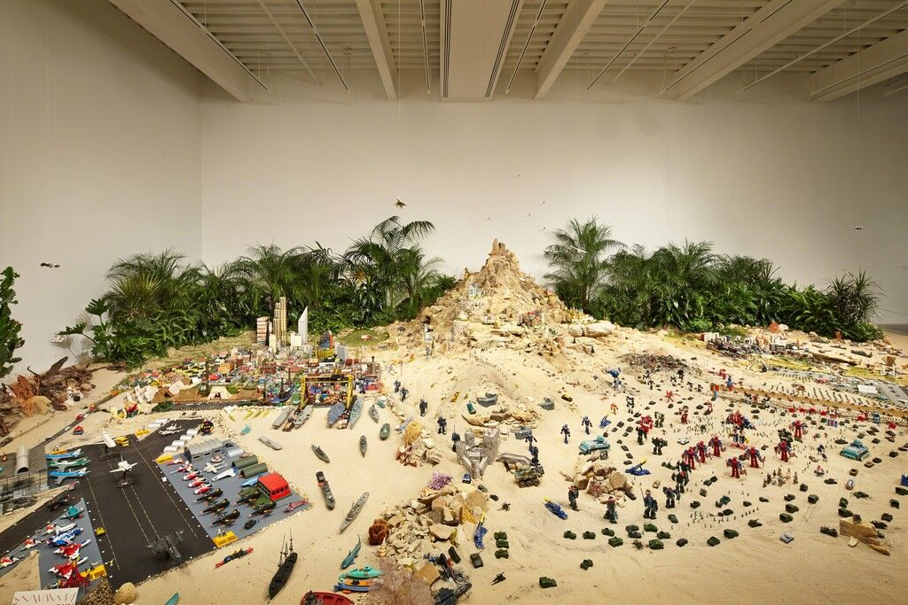 "A Tale of Two Cities. Installation view, ""Chris Burden: Extreme Measures"" at New Museum, New York, 2013"