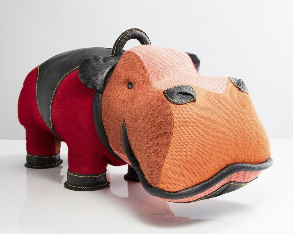 """""""Therapeutic Toy"""" hippopotamus in patchwork red jute with black leather detailing. Designed and made by Renate Müller, Germany, 2016."""