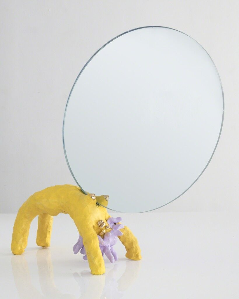 "Unique ""Girl Mirror"" in painted ceramic"