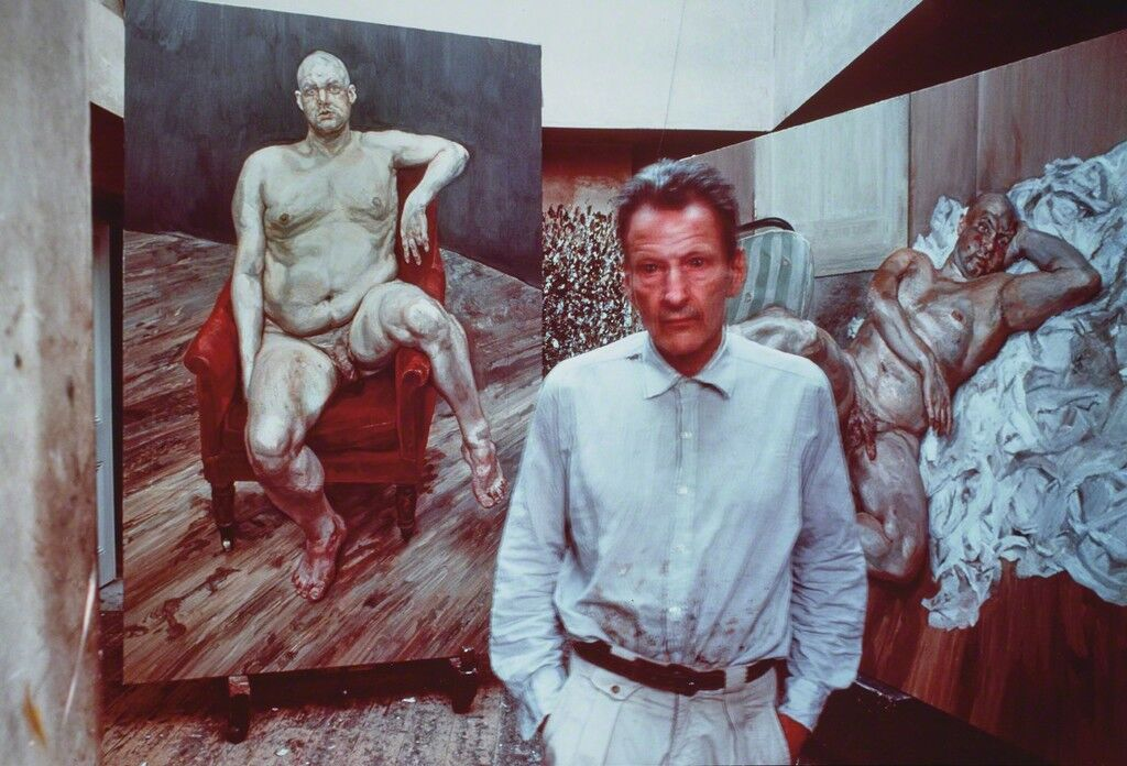 Lucian Freud with two portraits of Leigh Bowery