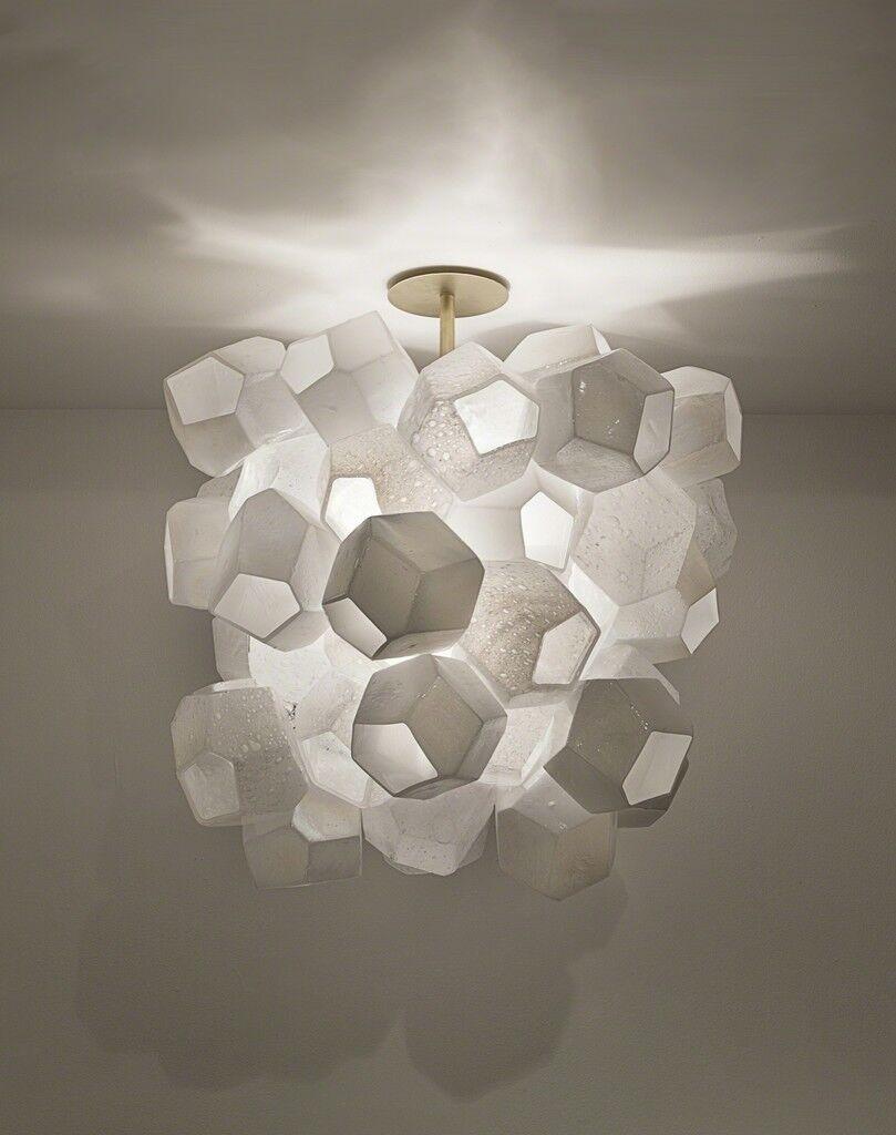 Illuminated Faceted Cluster sculpture