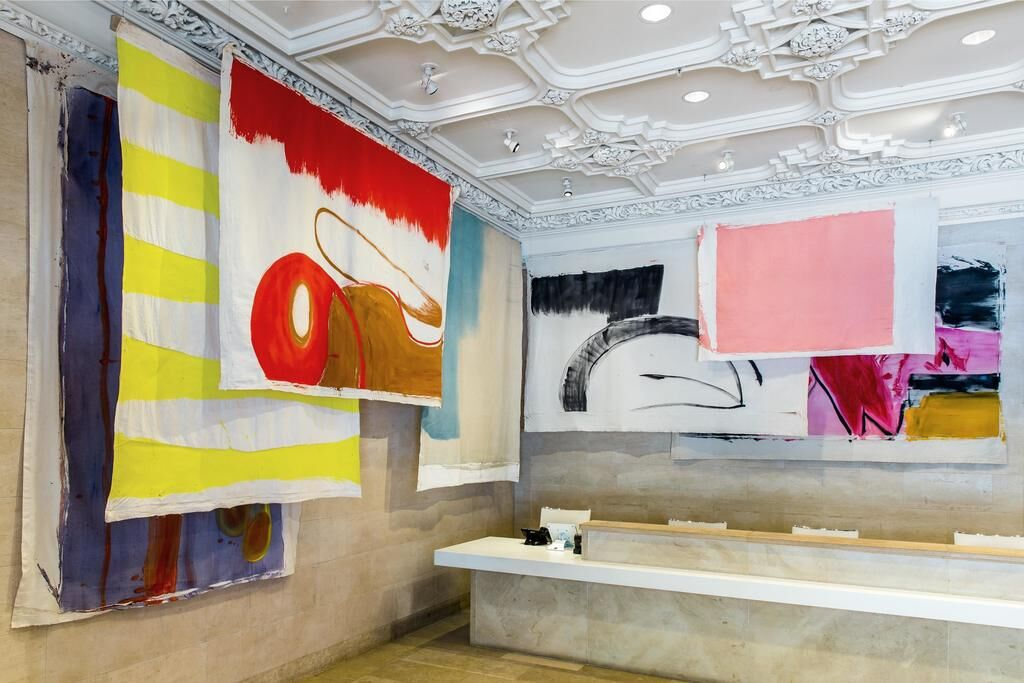 "Installation view of the exhibition ""Using Walls, Floors, and Ceilings: Vivian Suter"" at the Jewish Museum, NY"