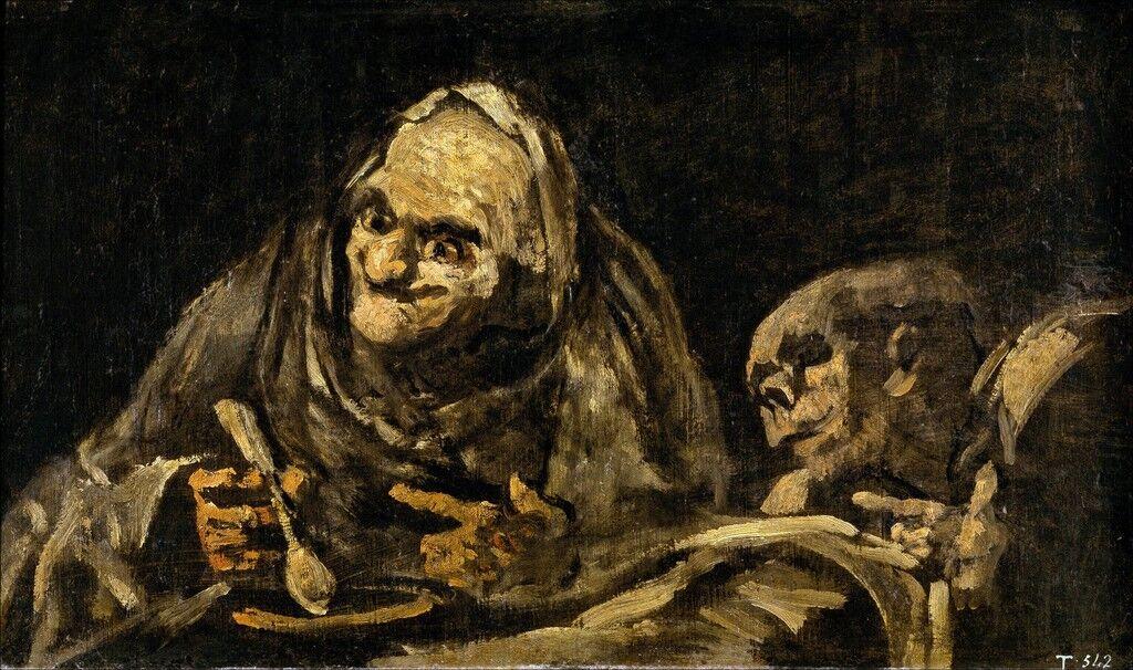 Dos ancianos comiendo.  Una de las pinturas negras de la Quinta del Sordo, la casa de Goya.
