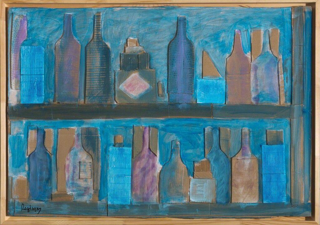 Shelves with bottles