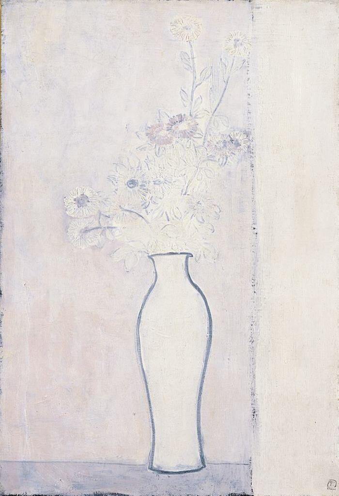 Chrysanthemums in a White Vase