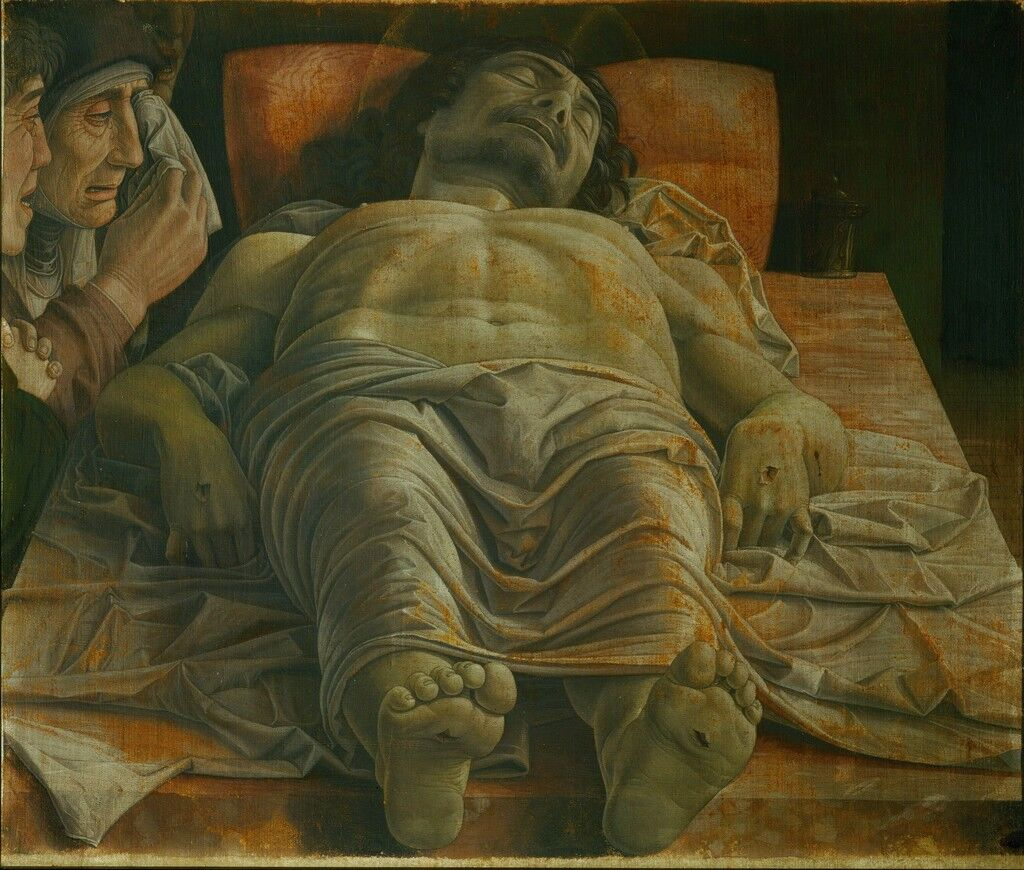 """Dead Christ (""""the foreshortened Christ""""), mourned by the Virgin, a pious woman and Saint John Apostle"""