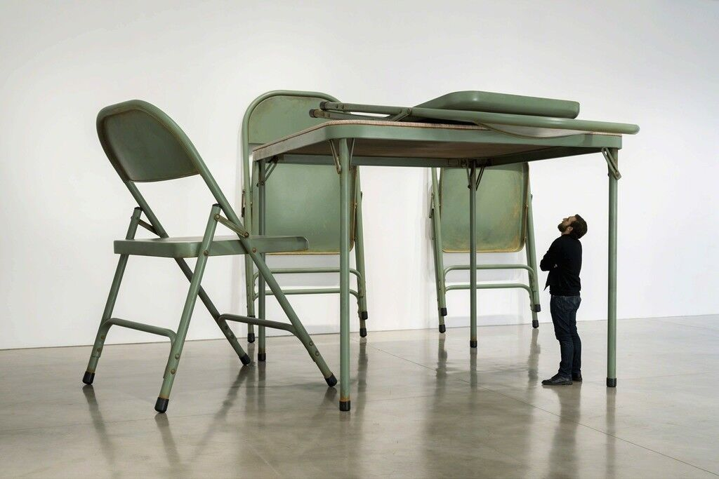 No title (folding table and chairs, green)