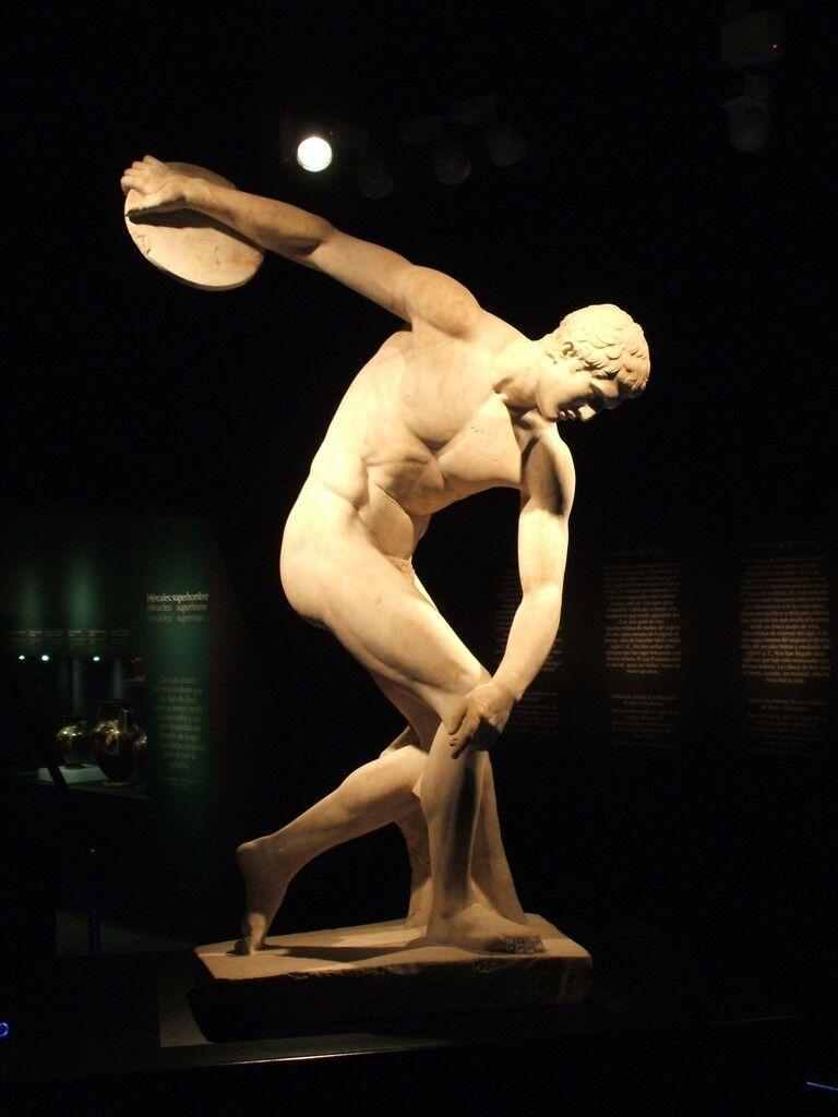 Discus-thrower (discobolus), Roman copy of Myron's bronze original of the 5th century B.C.