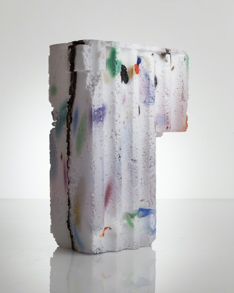 Unique Assemblage vessel in white with colored markings and amethyst interior hand-blown, cut and polished glass