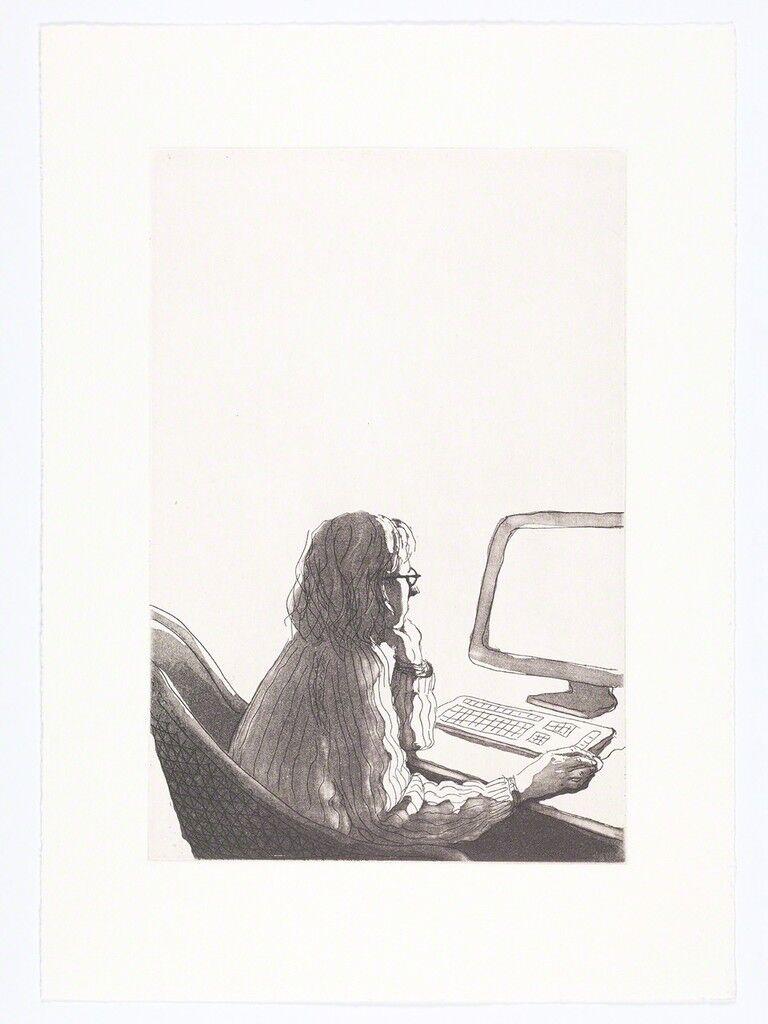 Milena at computer