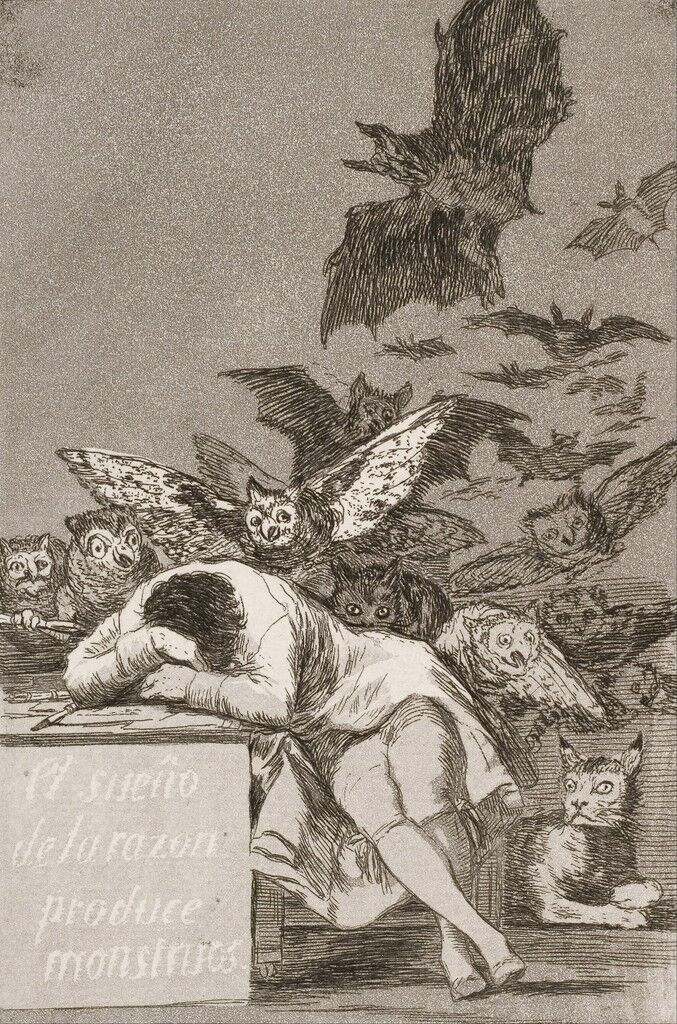 The Sleep of Reason Produces Monsters, No. 43 from Los Caprichos (The Caprices)
