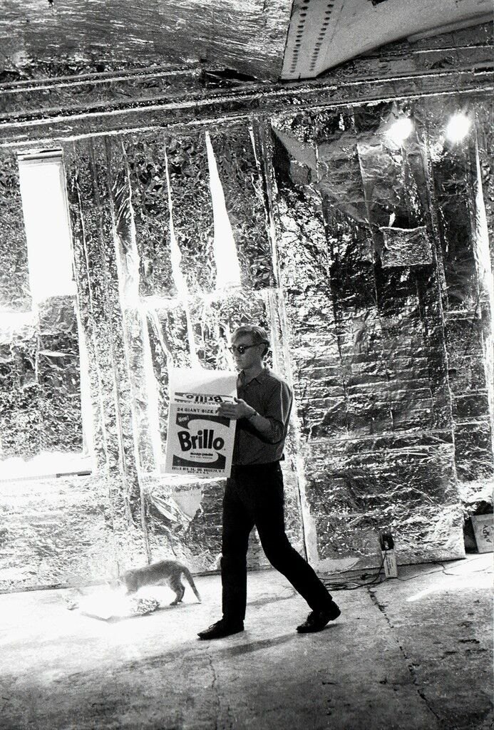 Andy Warhol carries a Brillo Box Sculpture with Ruby the cat