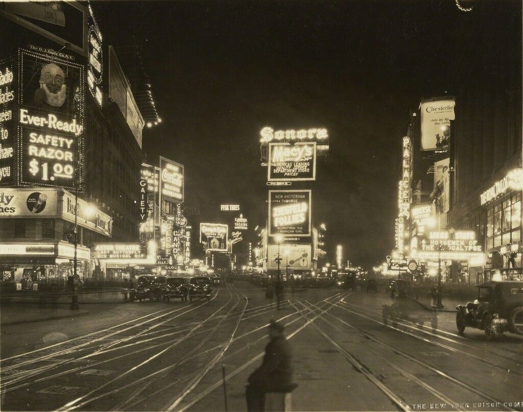 A Night View of Broadway looking North from 45th Street