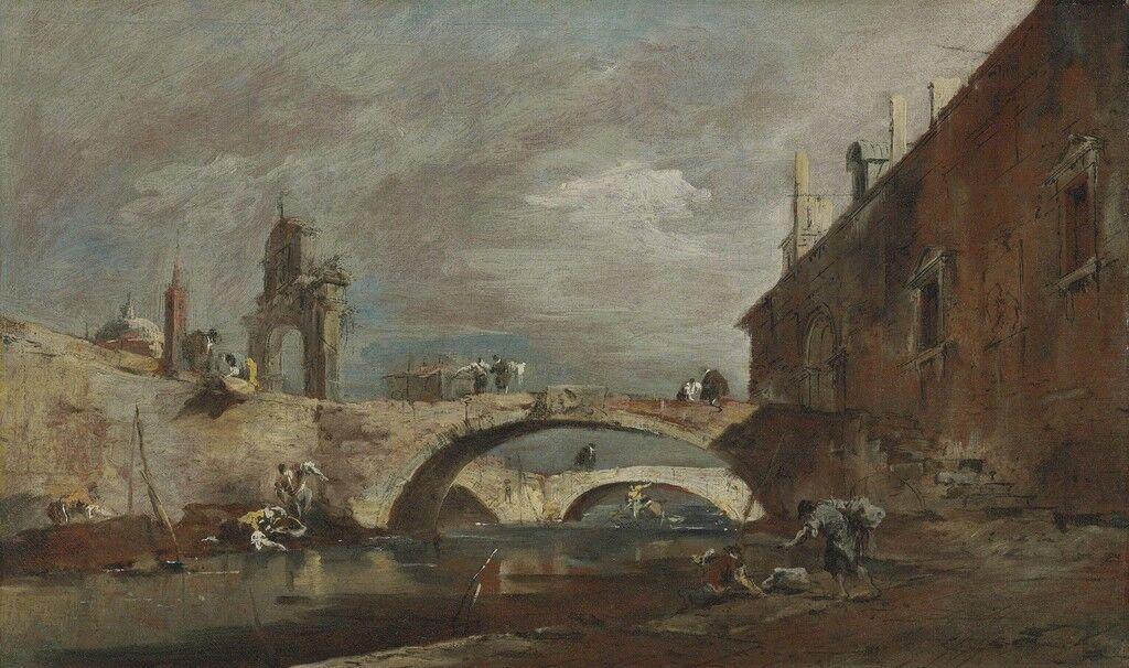Capriccio with bridges over a canal