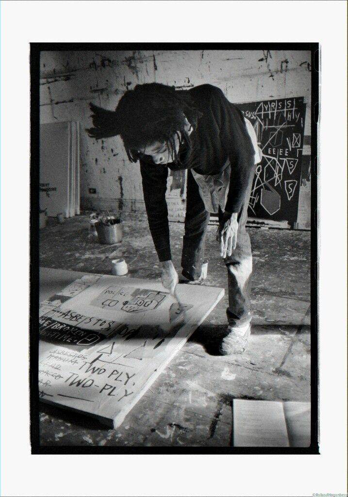 Basquiat painting on floor, New York, 1983