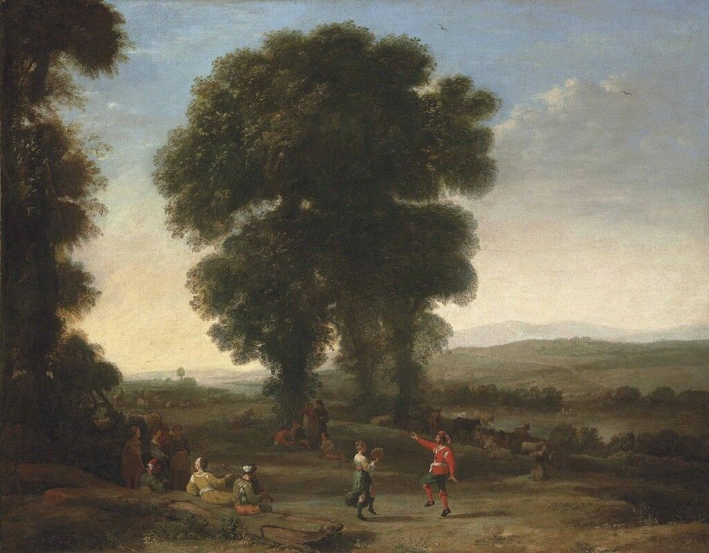 An extensive landscape with figures dancing and others resting under a tree in the foreground, their cattle resting beyond