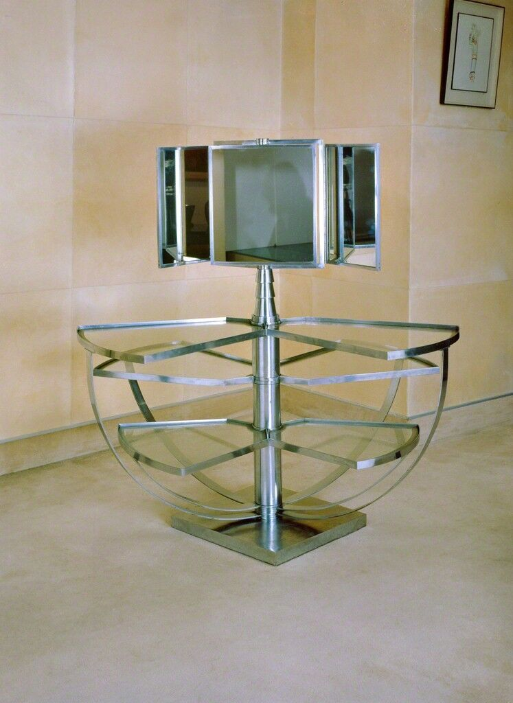 Dressing table in chromed metal and glass